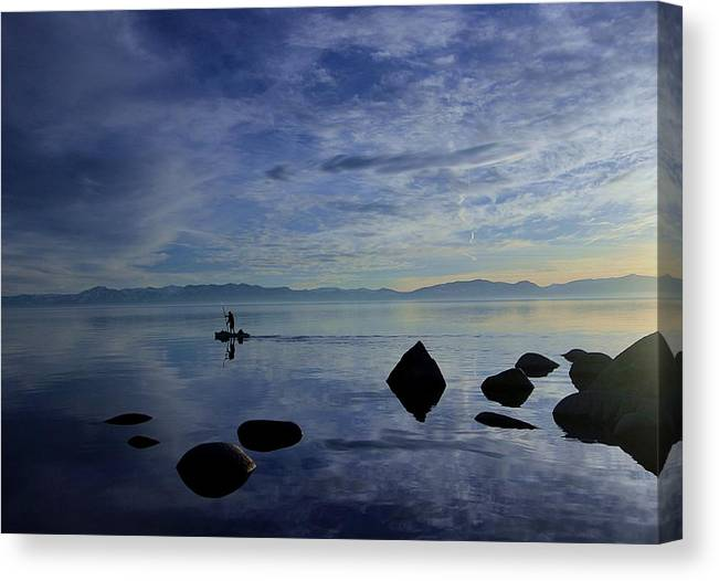 Lake Tahoe Canvas Print featuring the photograph Twilight Paddle by Sean Sarsfield