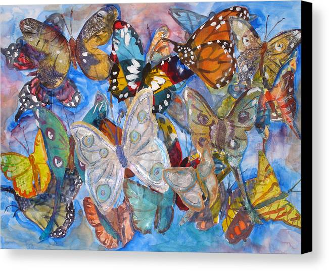 Butterfly Canvas Print featuring the mixed media Butterfly Collage by Joyce Kanyuk