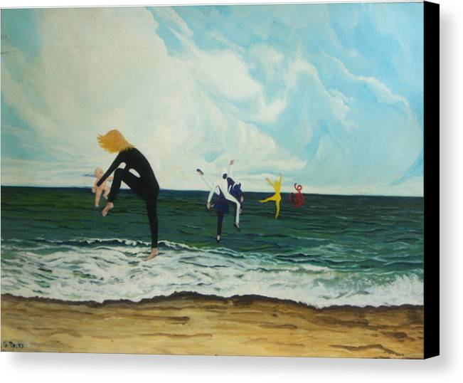 Surreal Canvas Print featuring the painting The Dancers by Georgette Backs