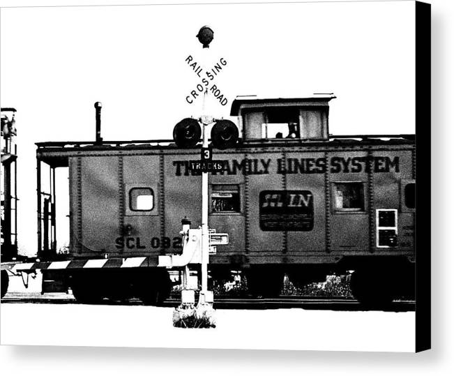 Black And White Canvas Print featuring the photograph Train Tryptic C Of C by Richard Gerken