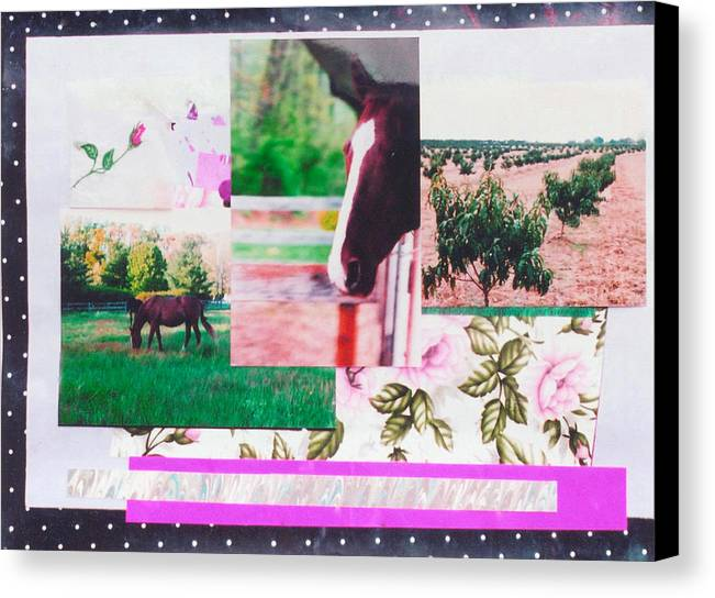 Horse Canvas Print featuring the mixed media Country Collage 1 by Mary Ann Leitch