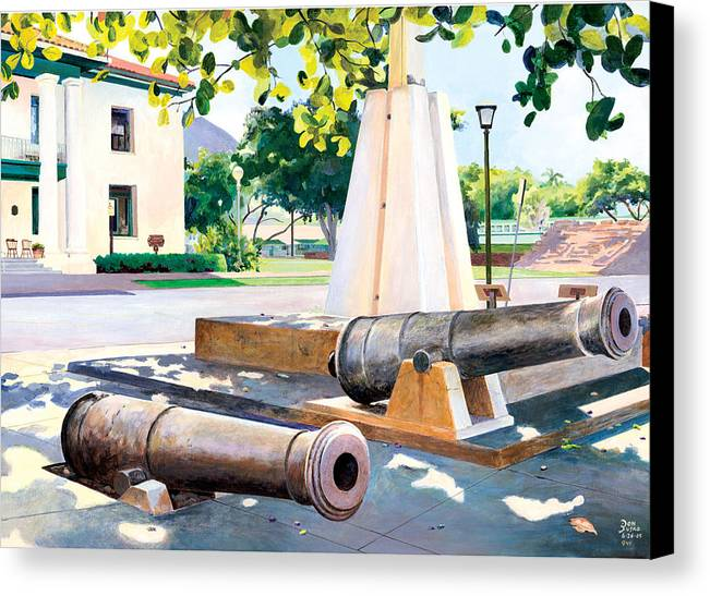 Lahaina Maui Cannons Canvas Print featuring the painting Lahaina 1812 Cannons by Don Jusko