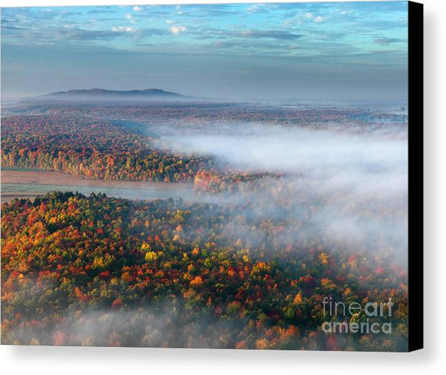 Birds Eye View Canvas Print featuring the photograph Early Autumn Morning Fog On The Richelieu River Valley Quebec Ca by Laurent Lucuix