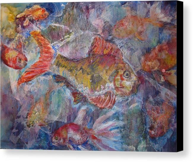 Fish Canvas Print featuring the mixed media Fish Fantasy by Joyce Kanyuk