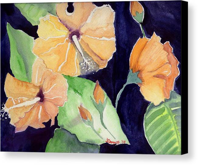 Orange Flowers Canvas Print featuring the painting Floral Affair by Janet Doggett
