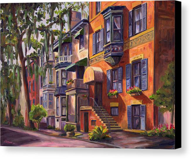 Savannah Canvas Print featuring the painting Hull Street In Chippewa Square Savannah by Jeff Pittman