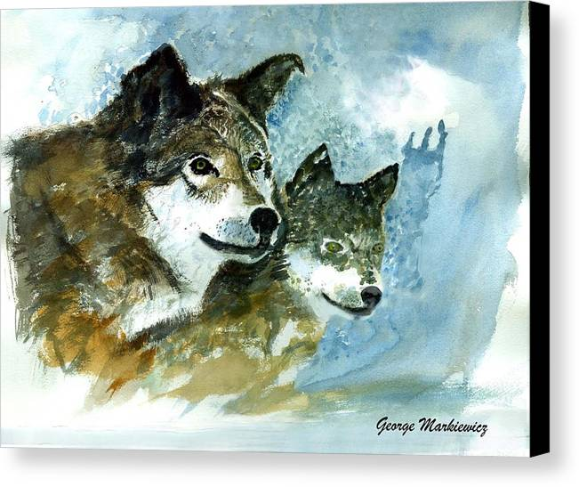 Wolves Canvas Print featuring the print Leader Of The Pack by George Markiewicz