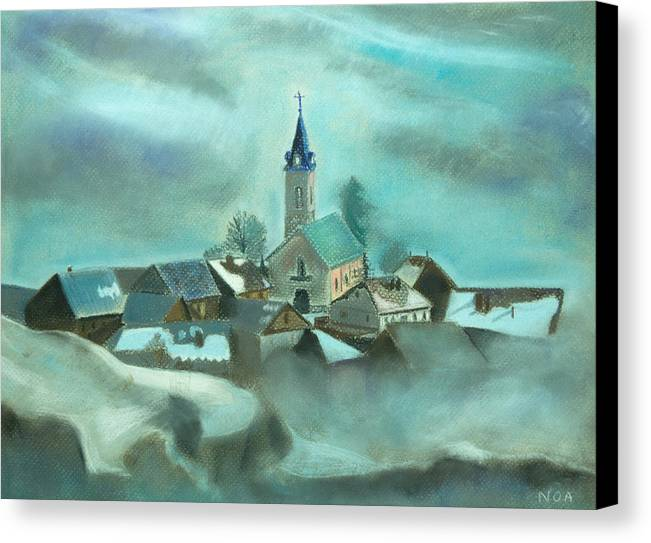 Village Canvas Print featuring the pastel My Village by Aymeric NOA