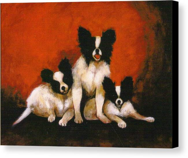 Three Dogs Canvas Print featuring the painting Papillons by Christine McGinnis