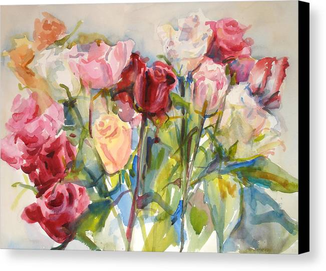 Roses Canvas Print featuring the painting Paul's Roses by Joyce Kanyuk