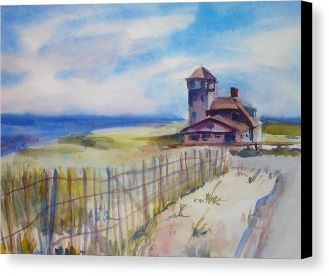 Provincetown Canvas Print featuring the painting Provincetown Ocean View by Joyce Kanyuk