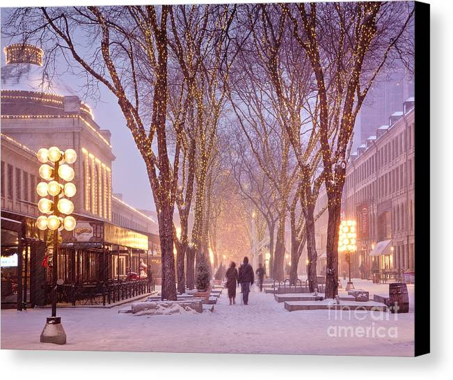 Architecture Canvas Print featuring the photograph Quincy Market Stroll by Susan Cole Kelly