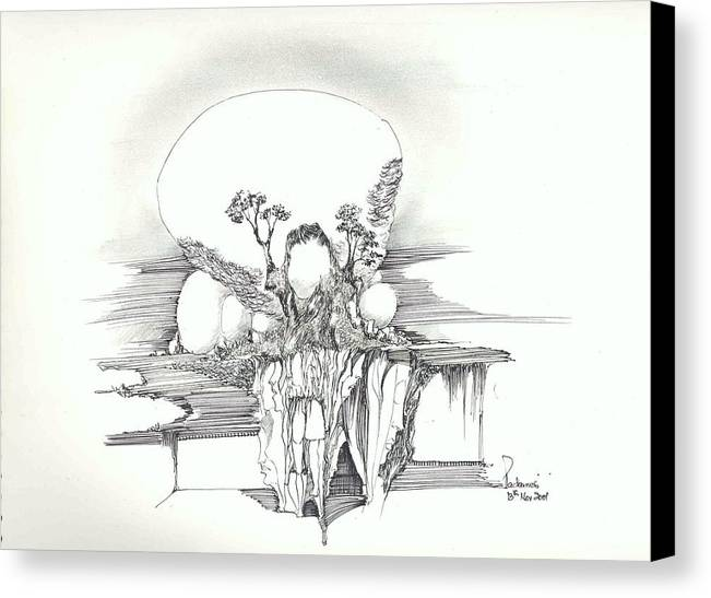 Surreal Landscape Forms Canvas Print featuring the drawing Rocks Trees Women And Faces by Padamvir Singh