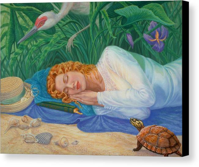 Seashore Canvas Print featuring the painting Sweet Dreams by Pat Lewis