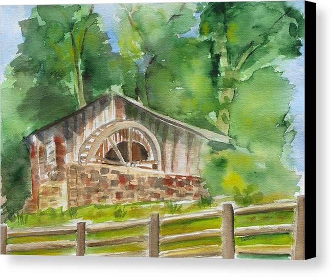 Landscape Canvas Print featuring the painting The Old Mill by Kathy Mitchell
