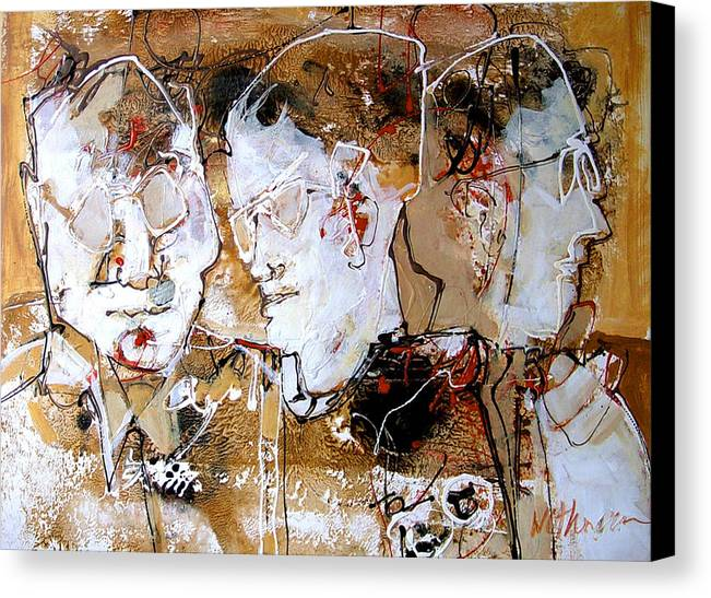 Figures Canvas Print featuring the painting Three Advisors by Dale Witherow