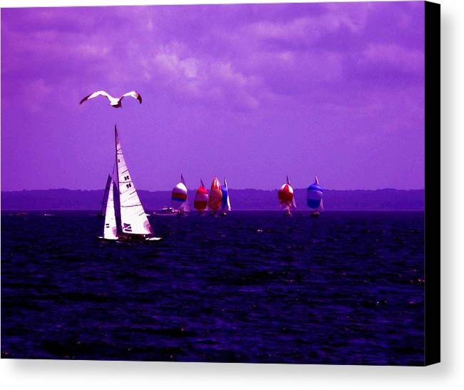 Sailboat Canvas Print featuring the photograph Way Up In The Clouds by Kendall Eutemey