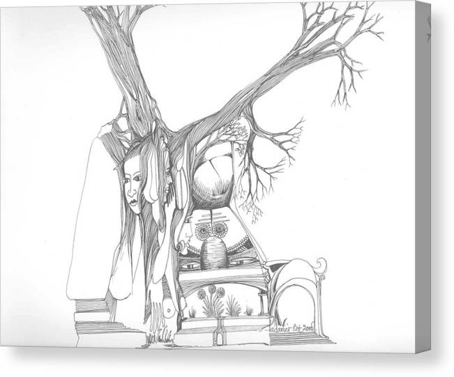 Women Canvas Print featuring the drawing A Woman A Temple A Tree And Some Rocks by Padamvir Singh