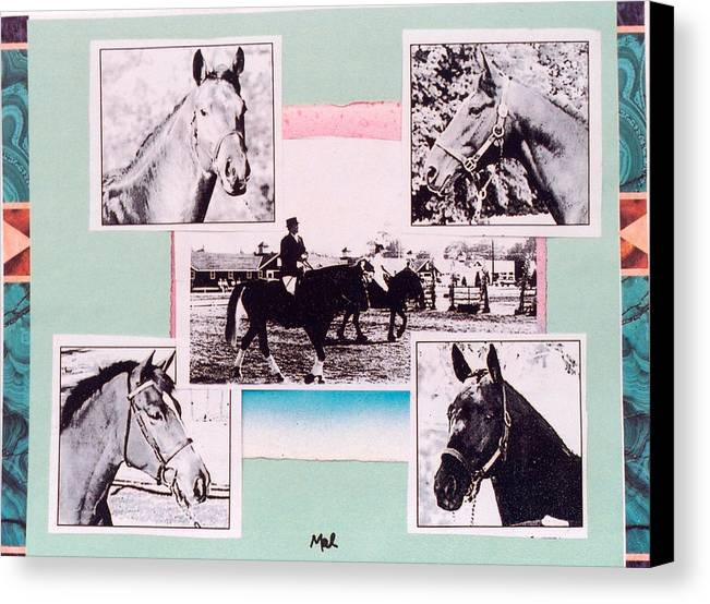 Horses Canvas Print featuring the mixed media Horse And Rider C by Mary Ann Leitch