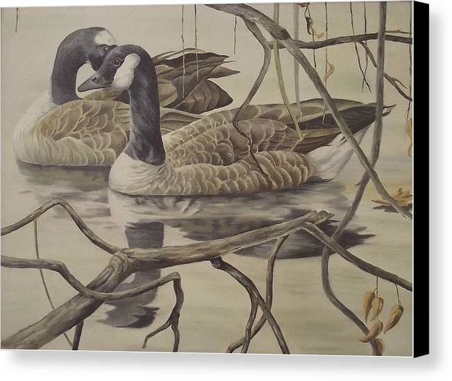 Water Canvas Print featuring the painting A Pair Of Ducks by Wanda Dansereau