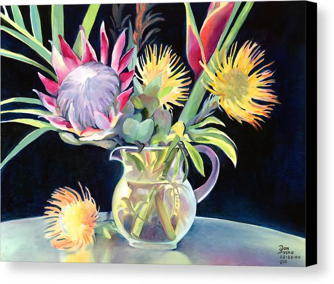 Copal Oil Canvas Print featuring the painting Anna's Protea Flowers Transparent by Don Jusko