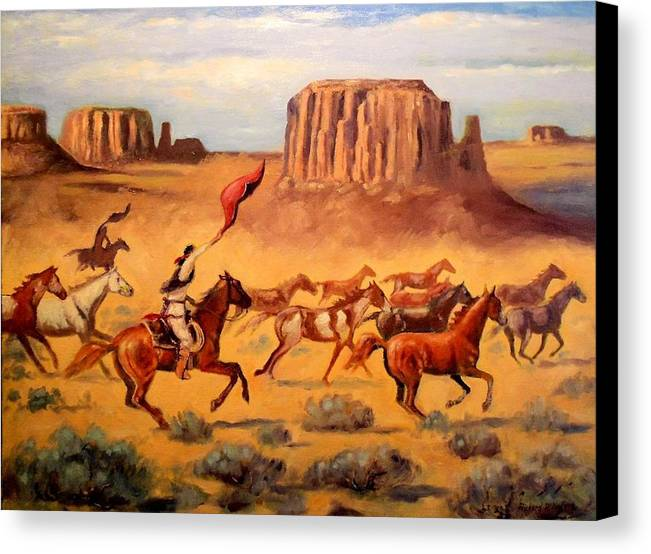 Indians Canvas Print featuring the painting Apache Horse Hunters by Richard Nervig