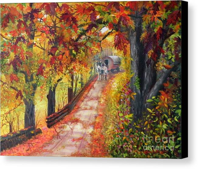 Scenery Canvas Print featuring the painting Autumn Dreams by Lora Duguay