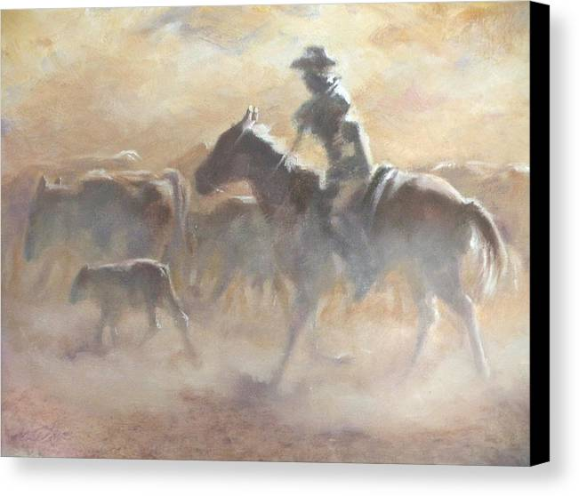 Cowboys Canvas Print featuring the painting Burning Daylight by Mia DeLode