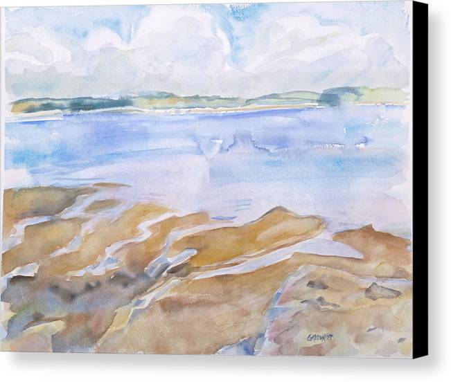 Penobscot Bay Canvas Print featuring the painting Low Tide - Penobscot Bay by Grace Keown