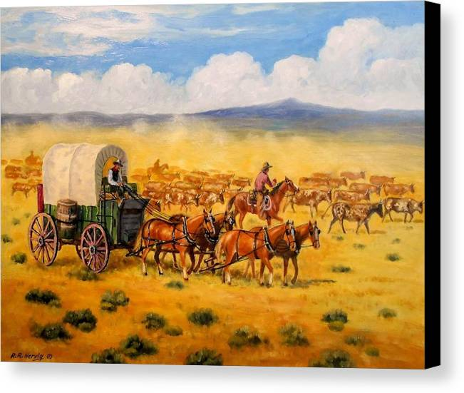 Cattle Drive Painting Canvas Print featuring the painting North To Abilene by Richard Nervig