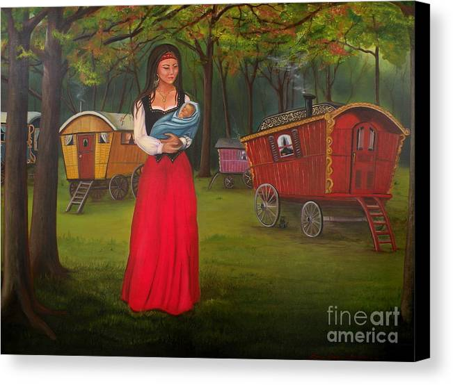 Mother And Child Canvas Print featuring the painting Romany Mother And Child by Lora Duguay
