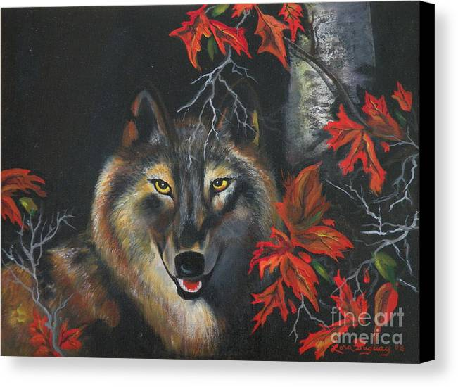 Wolf Canvas Print featuring the painting Seneca by Lora Duguay