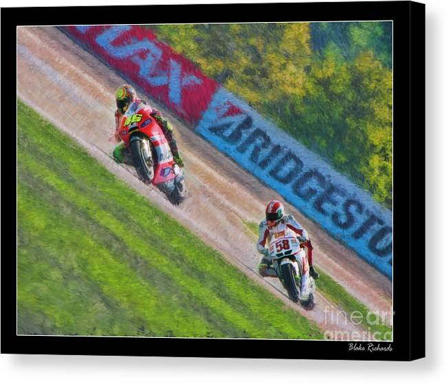 Valentino Rossi Canvas Print featuring the photograph Valentino Rossi Leads Marco Simoncelli by Blake Richards