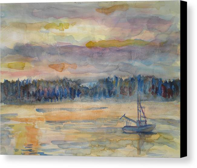 Alaska Canvas Print featuring the painting Alaskan Fishing Boat Sunrise by Joyce Kanyuk