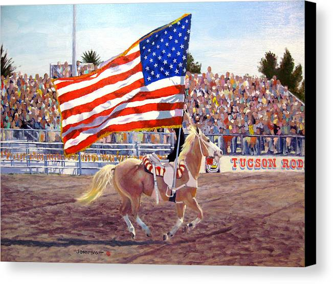 American Flag Southwestern Horse Cowboy Tucson Rodeo Canvas Print featuring the painting American Beauty by John Watt