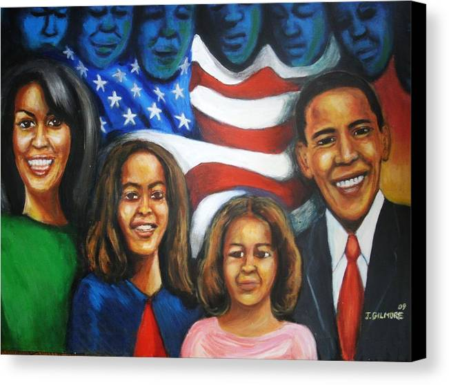 White House Canvas Print featuring the painting America's First Family by Jan Gilmore