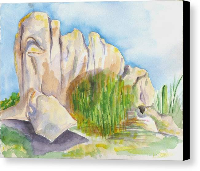 Landscape Canvas Print featuring the painting Arboretum Rocks by Kathy Mitchell