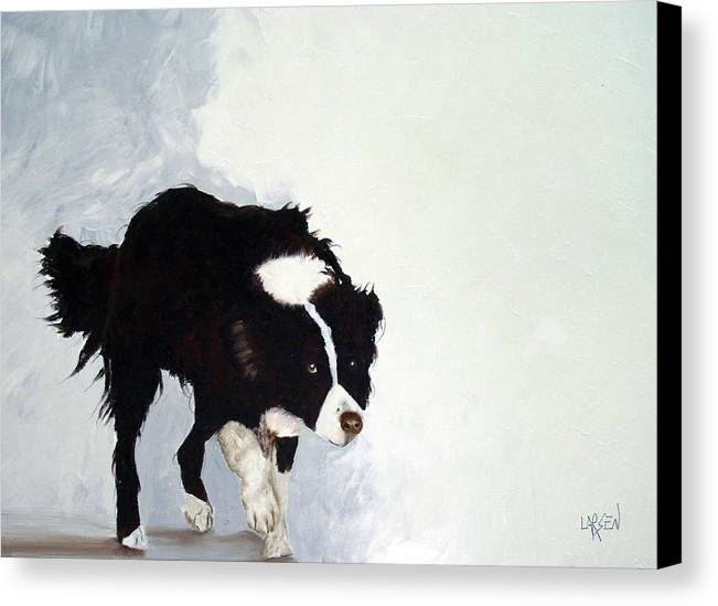 Border Collie Canvas Print featuring the painting Border Collie by Dick Larsen