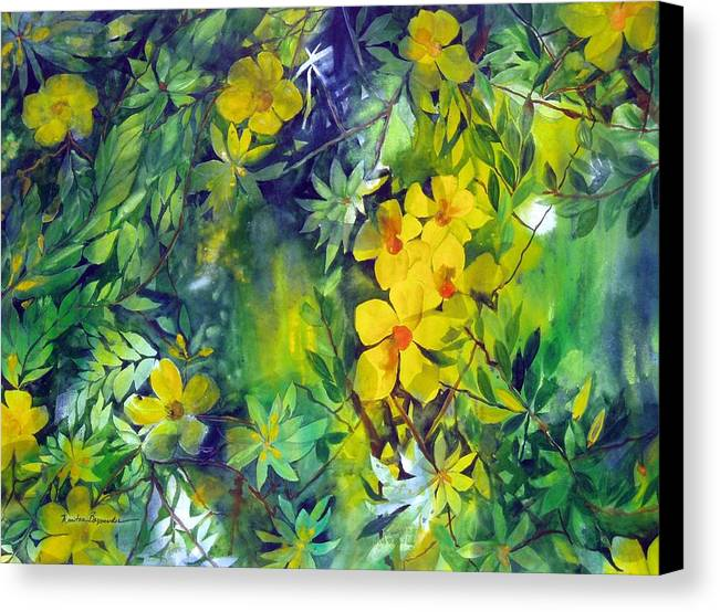 Tropical Plant. . Canvas Print featuring the painting Canarias by Maritza Bermudez
