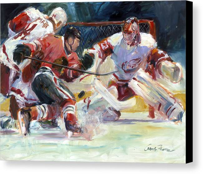 Sports Chicago Blackhawks Detroit Red Wings Hockey Goalmouth Action Canvas Print featuring the painting Crashing The Net by Gordon France