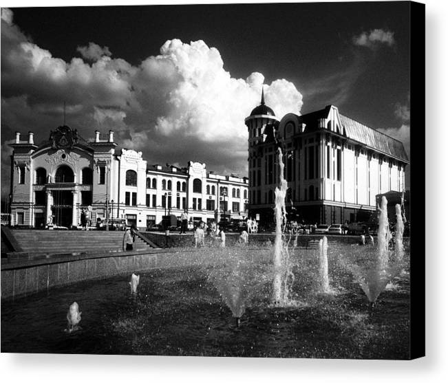 Cityscape Canvas Print featuring the photograph Downtown Tomsk by Susan Chandler