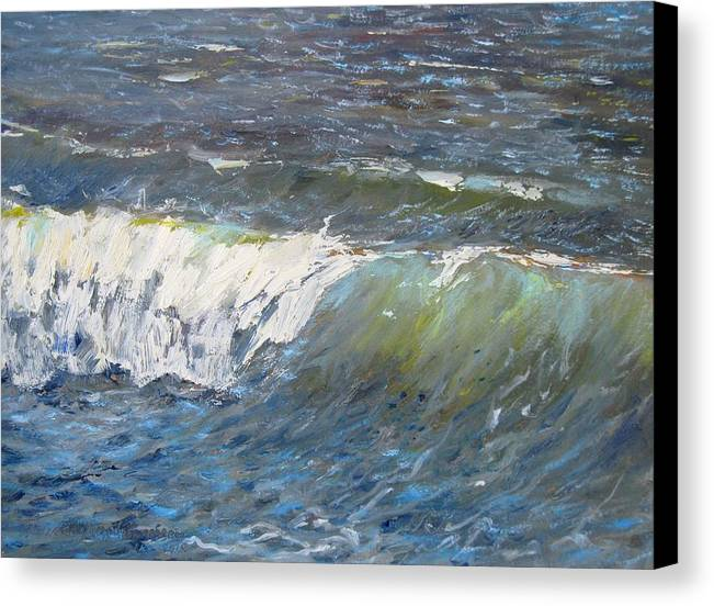 Seascape Canvas Print featuring the painting Evening Wave by Thomas Glass Phinnessee