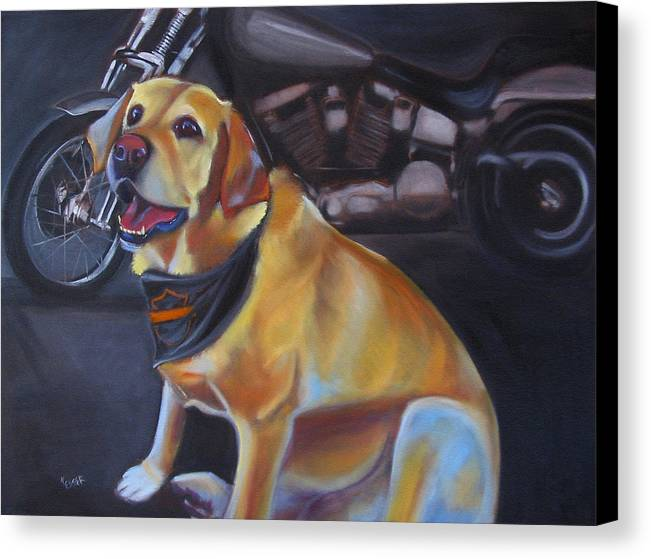 Yellow Labrador Retreiver Painting Canvas Print featuring the painting George And The Harley by Kaytee Esser