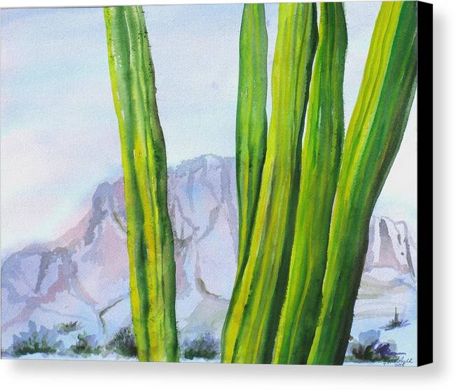 Desert Landscape Canvas Print featuring the painting Morning Haze by Kathy Mitchell