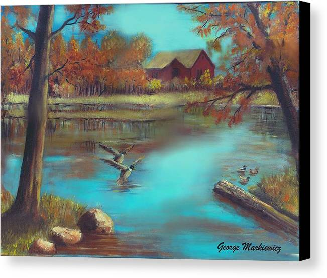 Lake Landscape Canvas Print featuring the print Muskego Lake by George Markiewicz