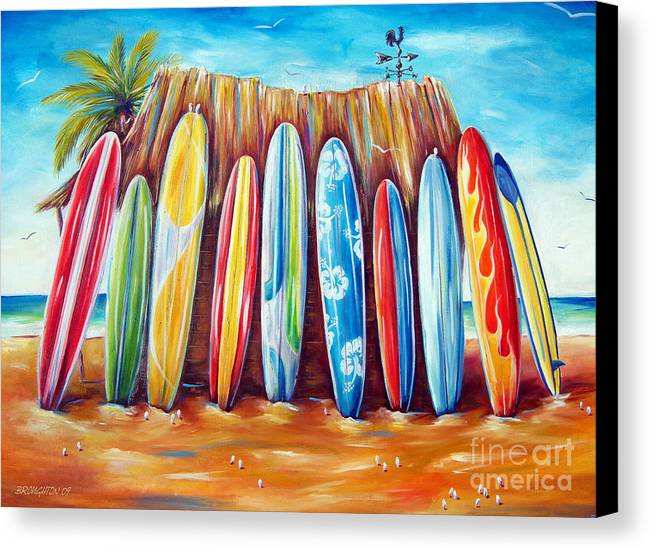 Surf Canvas Print featuring the painting Off-shore by Deb Broughton