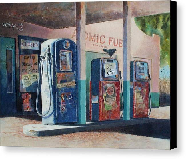 Nostalgic Genre Canvas Print featuring the painting Out Of Gas by Don Trout