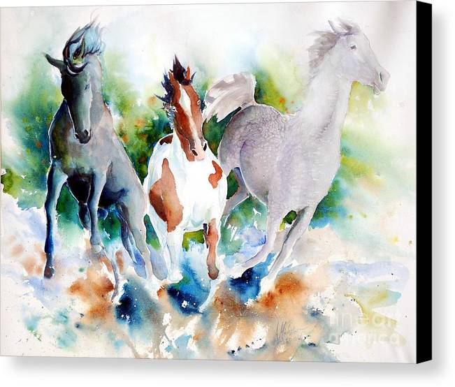 Horses Canvas Print featuring the painting Out Of Nowhere by Christie Michelsen