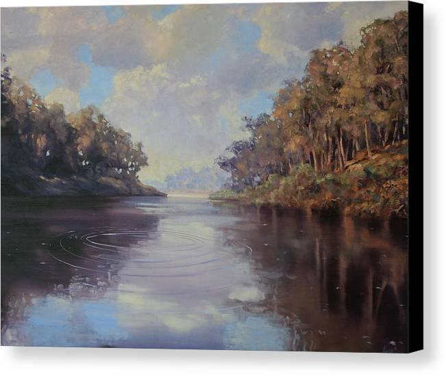 Oil On Canvas Canvas Print featuring the painting River Peace by Michael Vires