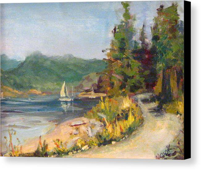 Plein Air Canvas Print featuring the painting Sailboat At Rebecca Spit by Nanci Cook